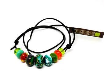 Handmade beads. Turqoise/orange bead set /necklace/bracelet for vikings