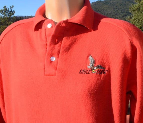vintage 70 sweatshirt EAGLE CLAW fishing hooks polo collar soft Medium Large