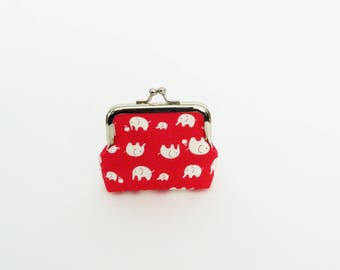 Coin purse, elephant fabric, red and white elephant design, cotton purse