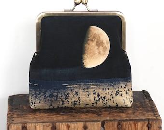 Moon cross-body shoulder bag with kisslock purse frame, reeds, loch, lake, natural landscape