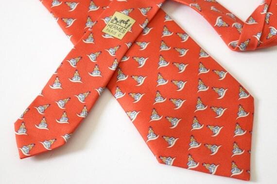 Vintage HERMES Little Sailors Novelty Print Silk Neck Tie