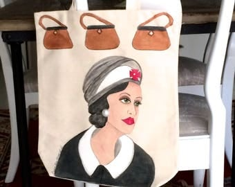 COCO CHANEL TOTE, hand painted tote, Chanel tote, purse tote, Coco fashion tote, fashionista gift, pearl earring, shoe tote, shopping tote