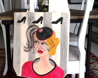 FASHION CANVAS TOTE, hand painted tote, fashionista tote, gift for her, feather pill hat, black stillettos, grey striped tote, hand painted