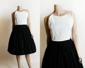 Vintage 1950s Dress - Black and White Sundress - Pintuck Bodice - Rockabilly Pin-Up Style - Cotton Day Dress - Small XS