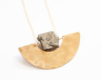Pyrite Pendant Hammered Half Moon Necklace | Long Brass Necklace | Gold Necklace | Pyrite Jewelry | Pyrite Necklace | Raw Stone Jewelry