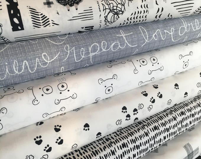 Nest Fabric, Neutral Nursery, Quilt or Apparel Fabric, Gender Neutral, Black White Decor, Bear, Art Gallery Fabric- Fabric Bundle of 7