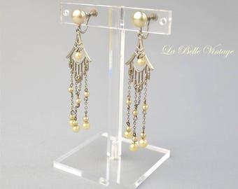 1930s Pearl Chandelier Earrings Vintage Art Deco Dangles