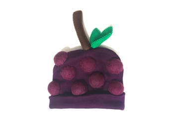 Grape Bunch Beanie - Purple Fruit Hat - Halloween for All Ages