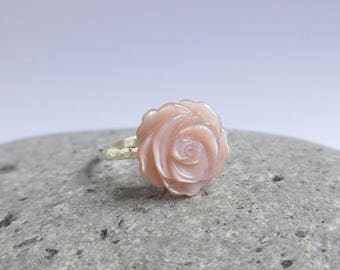 Pink Mother Of Pearl Carved Rose Sterling Silver Ring