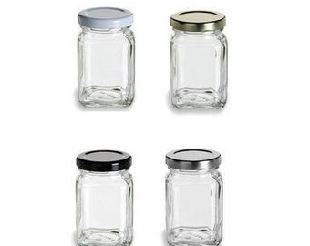 3.75 oz (110 ml) Square Glass Jar with your color Choice of Plastisol Lined BPA Free Lid: Gold, Silver, White, Black