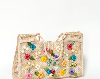 1960s Straw Bag --- Vintage Straw Summer Purse
