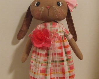 Primitive Folkart Bunny Rabbit Doll