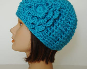 Turquoise Textured Morgan Beanie with Flower, Soft Acrylic