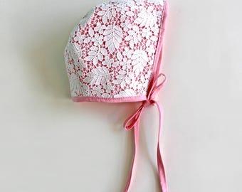 Pink Bonnet, Lace Bonnet, Off White Bonnet, Easter Bonnet, Baby Bonnet, Toddler Bonnet, Christening Bonnet, Baptism Bonnet, Baby Gift