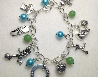 FREE Shipping!  Soccer Charm Bracelet.  Soccer. Charm Bracelet. Soccer Team. Team bracelet