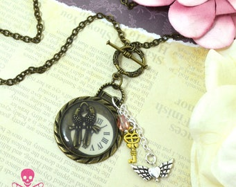 LOVE BIRDS - Resin Steampunk Watch Charm Necklace - Antique Bronze