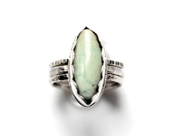 READY TO SHIP - Damele Sterling Silver Stacking Ring | Size 7 | Marquise Turquoise Variscite Green Damale | Boho Minimalist | Gugma Jewelry