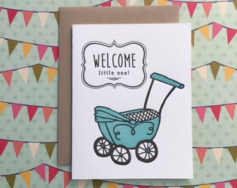 Welcome Baby Boy - letterpress card