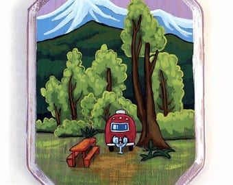 Acrylic Original Colorado Landscape Miniature Painting Wall Art on Wood - Red - Vintage Camper and Mountains Painting