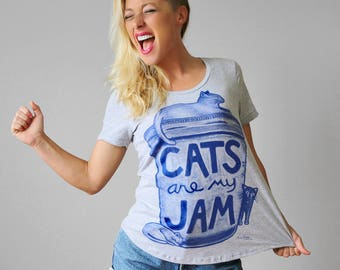 Cat Lover Gift : Womens Cat Print Shirt - summer party clothes - as seen on Philly.com - gift for her - funny tshirt - graphic tee  cat lady