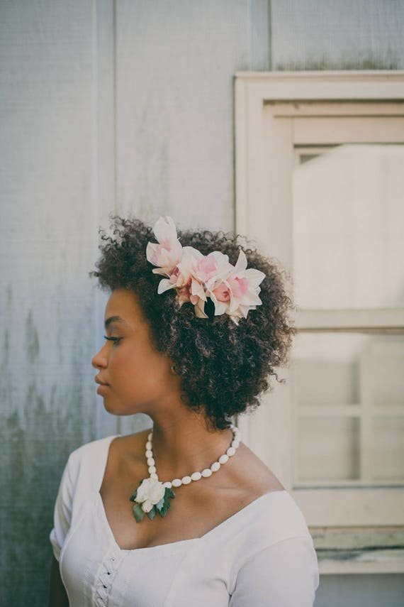 Ivory and Pink flower comb, Bridal hair accessory, Pink orchid clip, Off white bridal comb, Floral headpiece pink