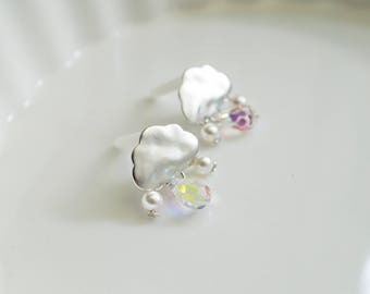 It's raining Matte Silver Plated Cloud Swarovski crystal and pearls Drops 925 sterling silver posts earring studs