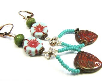 "Bohemian Inspired Czech Glass Collection - ""Ophelia"" Earrings"