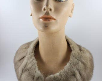 Vintage Ladies' Taupe Mink Fur Collar or Stole with Satin Lining