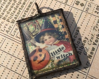 Halloween Witch Soldered Pendant