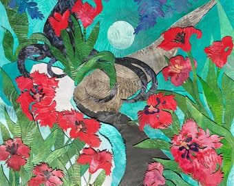 Wisteria moon #Paper art #Gina Signore #Art #Original art #Moon art #Wisteria art #Floral art #Garden art #Colorful art #Paper collage #Moon