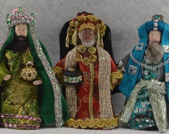 Three Wise Men Miniature Dolls The Magi We Three Kings Unique Nativity Collection