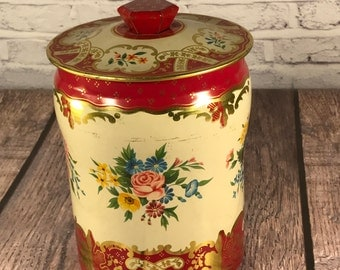 Floral Cookie or Biscuit Tin - England - Red and Gold - Litho - George W. Horner & Co.