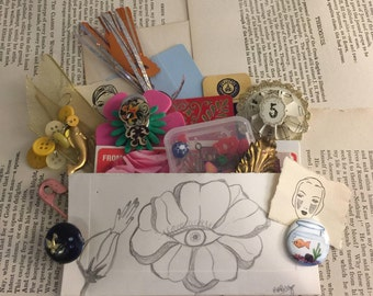 Paper Pocket Filled w/ Found Objects Collage Assemblage Lot Findings FREE US SHIPPING