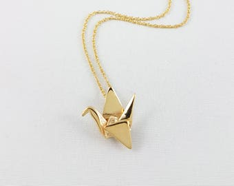 Brass Paper Crane Necklace,Origami Crane Necklace,Gold Necklace,Paper Crane Pendant,First Anniversary Gift,Gold Origami Crane Necklace,Gold