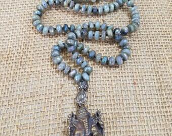 Ganesh Amulet Knotted Rainbow  Labradorite Stone Mala Necklace