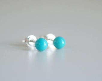 Mini Turquoise earrings. Sterling silver tiny Turquoise studs. Tiny Turquoise studs, Blue Turquoise studs, silver mini studs, ball studs.
