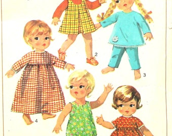 "9"" Doll Wardrobe Inverted Pleat Dress Romper Vintage Sewing Pattern Simplicity 7400"