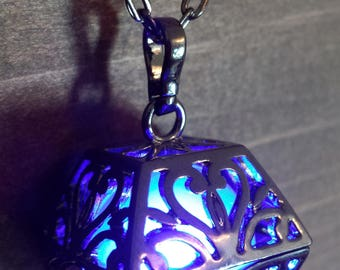 Dwarven Box Glowing Necklace, Glowing Pendant, locket, Glowing LED orb , Black Metal