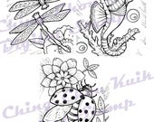 Dragonflies Seahorse Ladybug Set - Digital Stamp Instant Download / Insect Dragonfly Ocean Flower Line Art by Ching-Chou Kuik