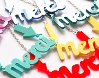 Merci Necklace, Gratitude Necklace, Thankful Necklace, Laser Cut Acrylic Necklace, Laser Cut Jewellery, Rock Cakes, Brighton uk