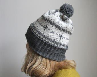 Snowflake Bobble Hat - grey & white