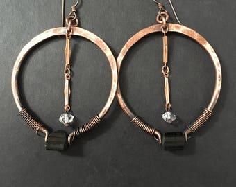 Copper Hoop Earrings / Tribal Fusion / Healing Crystals / Big Hoops / Black tourmaline / Rustic Jewelry / daniellerosebean / Large Hoops