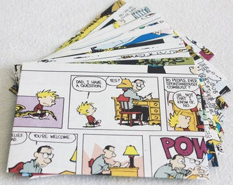 Recycled Envelopes Calvin and Hobbes Recycled Colour Comic Book Envelopes, 4.5 x 6, set of 10 by PrairiePeasant