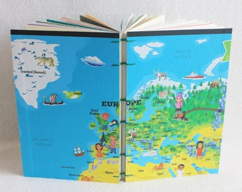 Europe Travel Journal Recycled Our World Game Board Book Upcycled Board Game by PrairiePeasant
