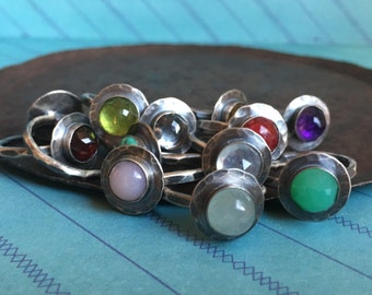 rustic birthstone ring.  made to order in your size