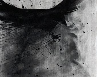 Crow art - 8x12in, A4, 20x30cm watercolor ink painting - flying in the strom