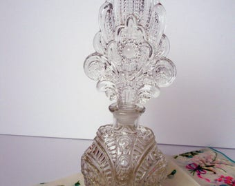 Tall Vintage Perfume Bottle Clear Glass Collectible