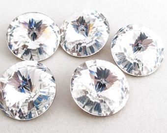 Five Swarovski #1122 18mm Rivoli Round stone - Vintage Crystal - Clear Crystal