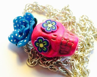 Gigantic Pink Sugar Skull and Turquoise Polkadot Rose Day of the Dead Necklace, Pendant, Key Chain or Ornament