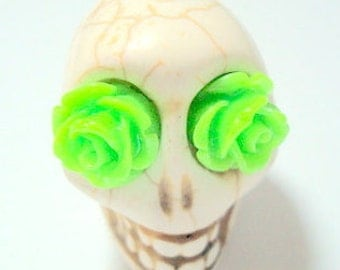 Gigantic Ivory Howlite Skull Bead or Pendant  with Lime Green Roses in Eyes